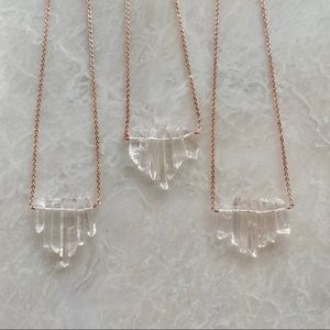 22K Rose Gold Raw Crystal Boho Necklace